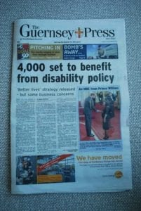 Copy of Guernsey Press announcing Disability Strategy