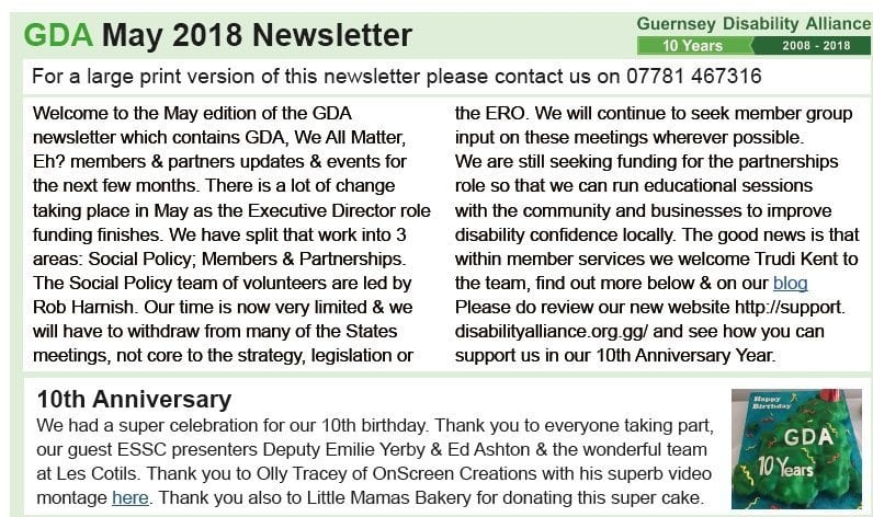 May 2018 Guernsey Disability Alliance Newsletter