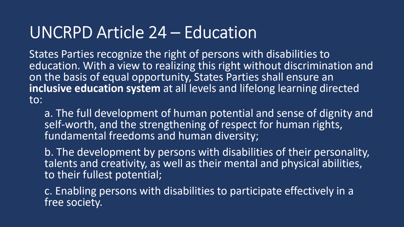 UNCRPD Article 24 - Education. Click here to go to UN page.